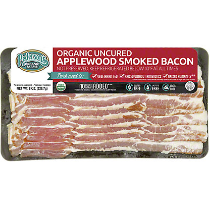 Pedersons Organic Uncured Apple Smoked Bacon, 8 Oz